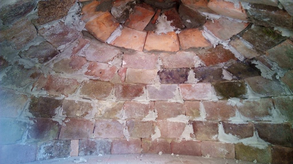 Inside the pizza oven dome