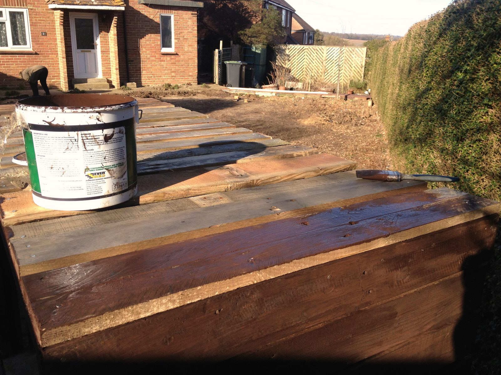 Staining the wood to protect it